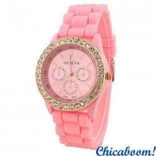 Часы Geneva с силиконовым ремешком розового цвета и стразами