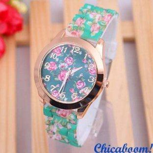 Часы Geneva с силиконовым ремешком с цветочным принтом (зелёные)