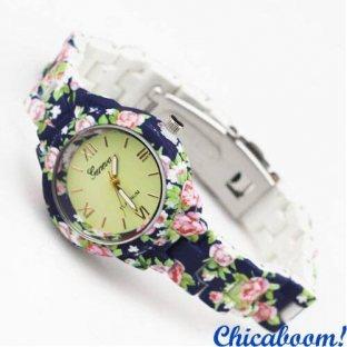 Часы Geneva с цветочным принтом в синих тонах (мини)