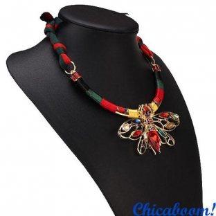 Ожерелье Весёлая стрекоза (красный цвет)