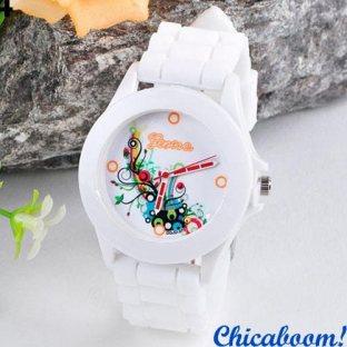 Часы Geneva с силиконовым ремешком (abstract)