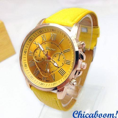 Часы Geneva с жёлтым ремешком (римские цифры)