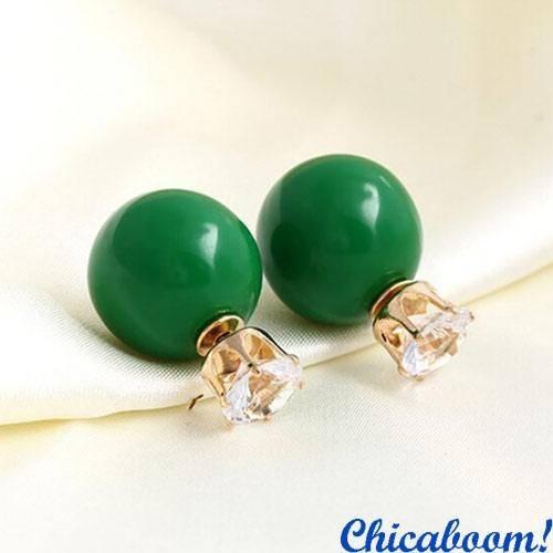 Серьги в стиле Dior зелёного цвета (корона)
