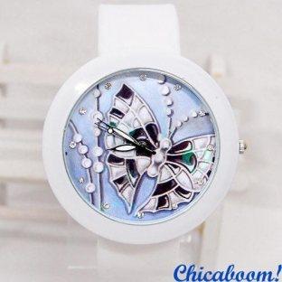 Часы с силиконовым ремешком белого цвета (с бабочкой)