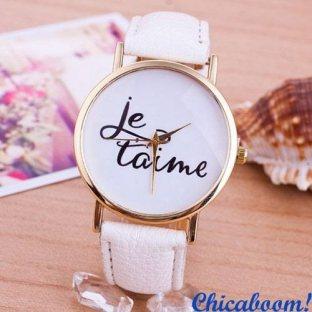 Часы Je taime с белым ремешком
