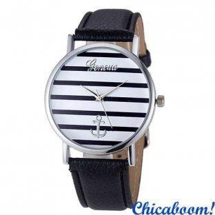 Часы Geneva Striped с серебристым циферблатом (чёрный ремешок)
