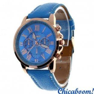 Часы Geneva с голубым ремешком (римские цифры)