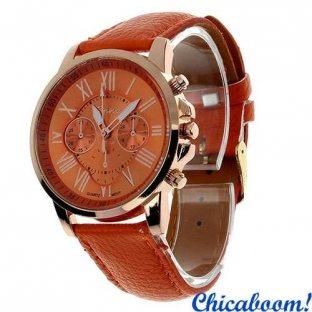 Часы Geneva с оранжевым ремешком (римские цифры)