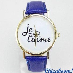 Часы Je taime с синим ремешком