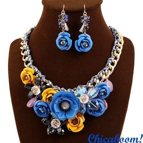 Набор Весенние цветы в жёлто-синих тонах (ожерелье и серьги)