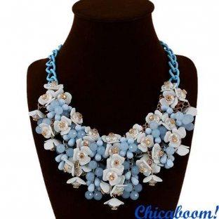 Ожерелье Flowers в голубых тонах