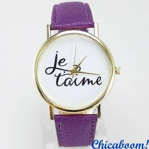 Часы Je taime с фиолетовым ремешком