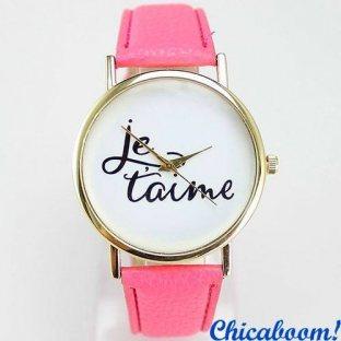 Часы Je taime с розовым ремешком
