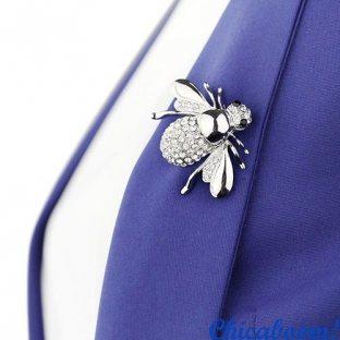 Брошь Пчела (серебристый цвет)