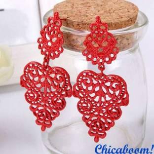 Серьги Сияние (красного цвета)