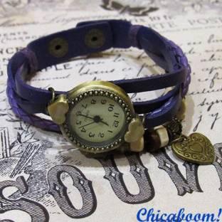Часы-браслет с фиолетовым ремешком (сердечко)