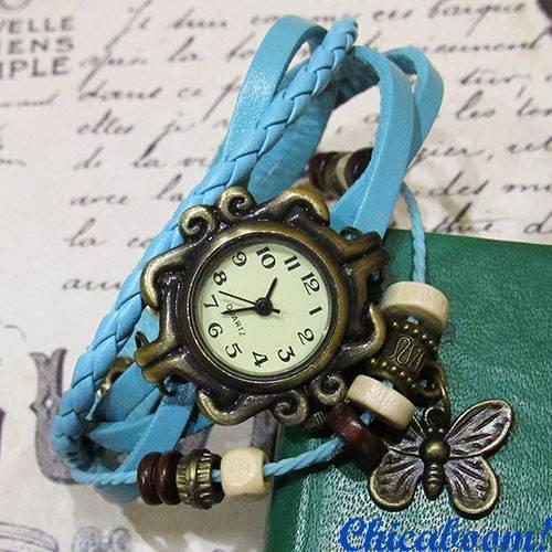 Часы-браслет с голубым ремешком (бабочка)