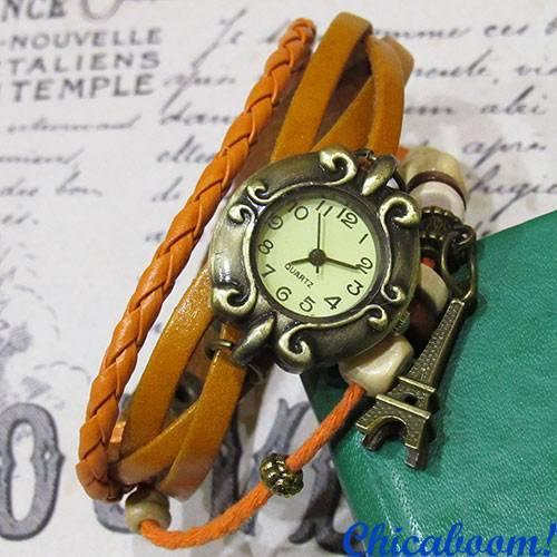 Часы-браслет с оранжевым ремешком (эйфелева башня)
