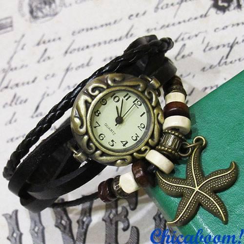 Часы-браслет с чёрным ремешком (морская звезда)