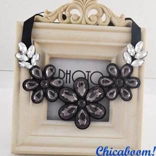 Ожерелье Ледяные цветы серого цвета №2