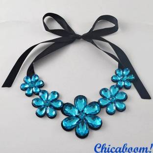 Ожерелье Ледяные цветы синего цвета