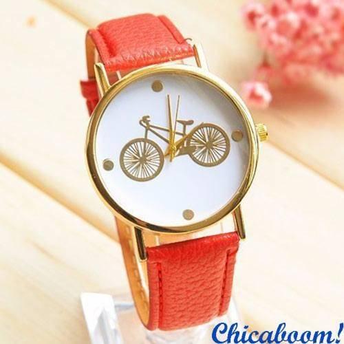 Часы с красным ремешком (велосипед)