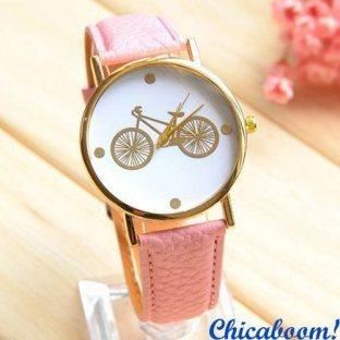Часы с розовым ремешком (велосипед)