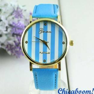 Часы Geneva с кожаным ремешком голубого цвета