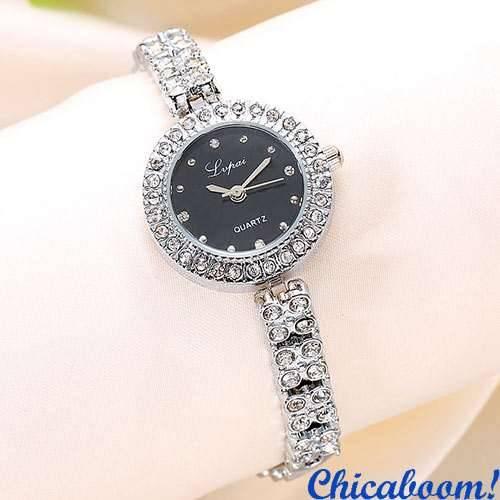 Часы Lvpai серебряного цвета со стразами