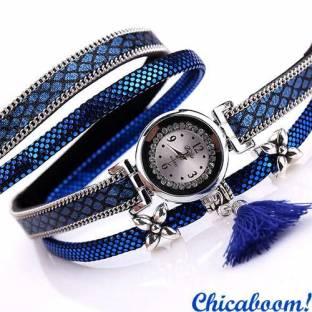 Часы DUOYA со стразами (синий цвет)