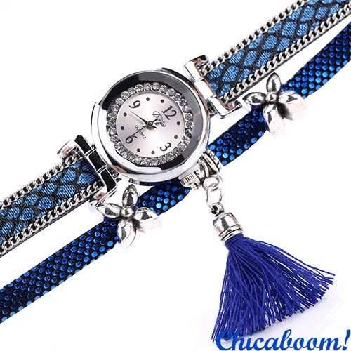 fd98b70558d9 Женские часы DUOYA со стразами синего цвета