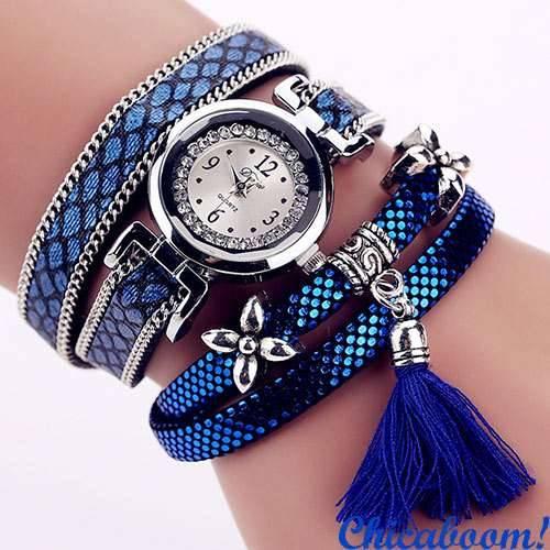 e7fc106233cc Женские часы DUOYA со стразами синего цвета