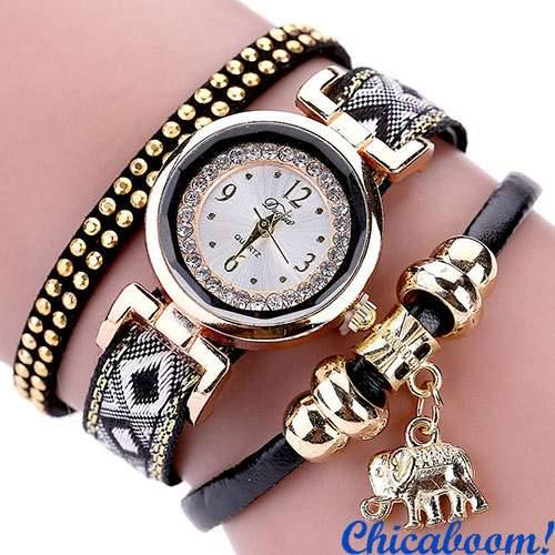 Часы DUOYA со стразами (чёрный цвет)