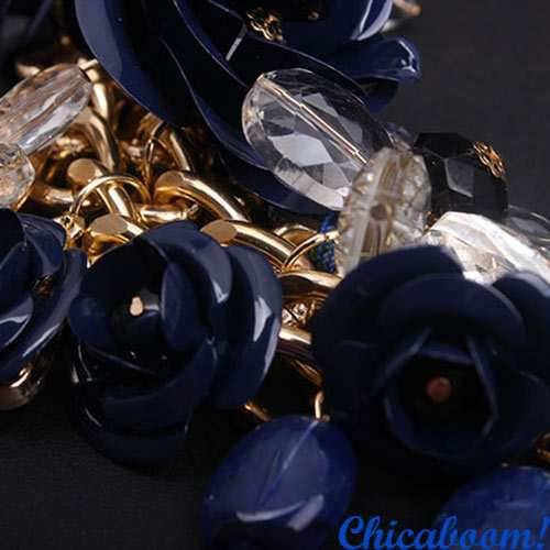 Ожерелье Весенние цветы (синий цвет)