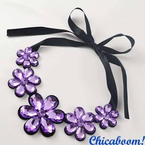 Ожерелье Ледяные цветы фиолетового цвета