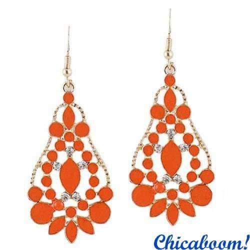 Серьги Капли (оранжевый цвет)