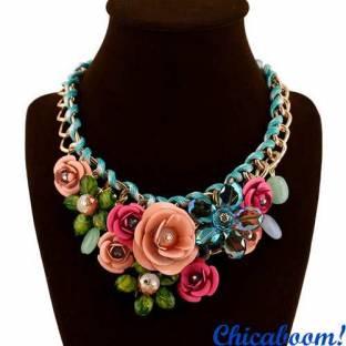 Ожерелье Весенние цветы (розовый и персиковый цвет)