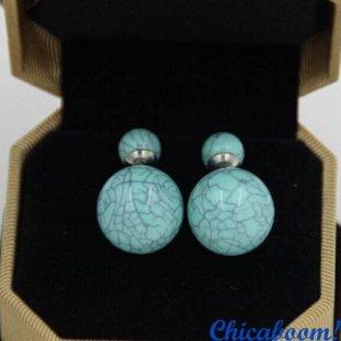 Серьги пусеты в стиле Dior голубого цвета (мрамор)