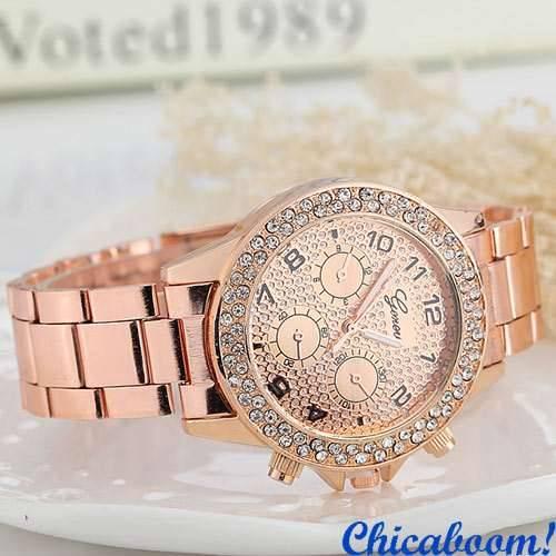 Часы Geneva со стразами (цвет розового золота)