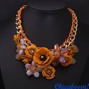 Ожерелье Весенние цветы (оранжевый цвет)