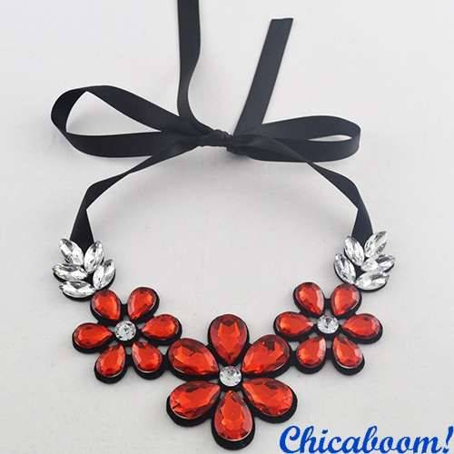 Ожерелье Ледяные цветы красного цвета №2