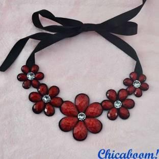 Ожерелье Ледяные цветы красного цвета (матовое)