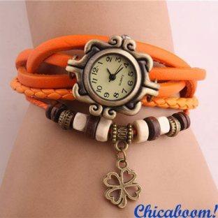 Винтажные часы-браслет с оранжевым ремешком (клевер)