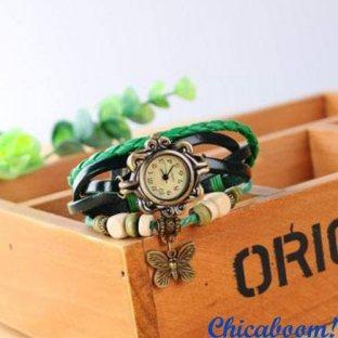 Винтажные часы-браслет с зелёным ремешком (бабочка)
