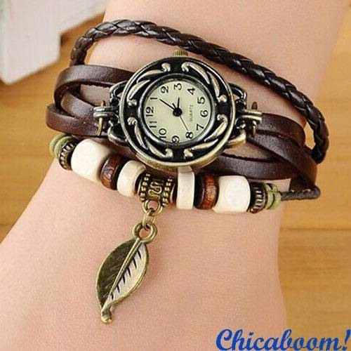Винтажные часы-браслет с коричневым ремешком (листочек)