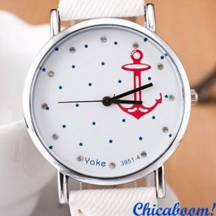 Часы с якорем (белый джинс)