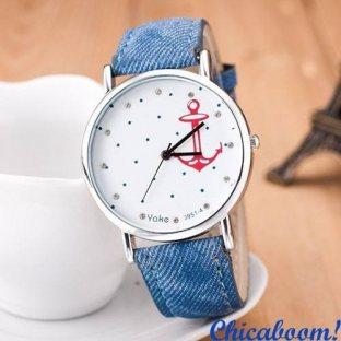 Часы с якорем (синий джинс)