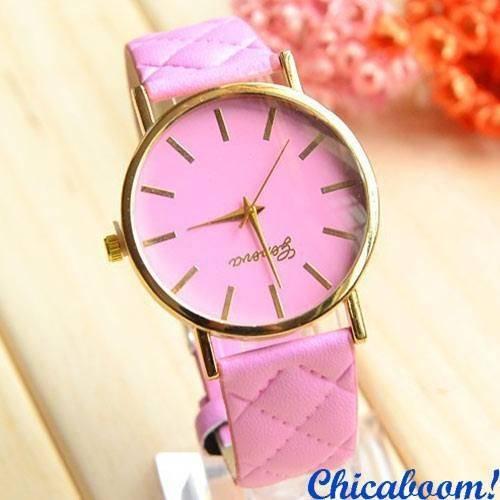 Часы Geneva со стёганым ремешком (розовые)