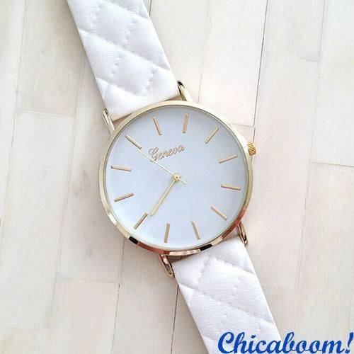 Часы Geneva со стёганым ремешком (белые)
