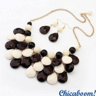 Набор Candy чёрно-белого цвета (колье и серьги)